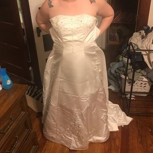 Size 14 wedding dress with slip and veil